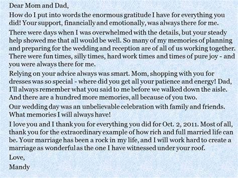 thank you letter to parents on wedding day a message from the and groom to their parents