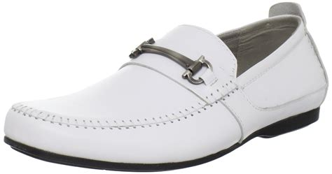 white leather loafers mens steve madden katts bit loafers in white for white