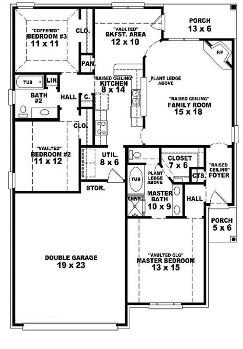 2 bedroom house plans one story 654104 one story 3 bedroom 2 bath french country style