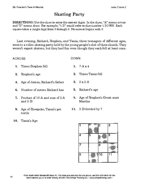 Critical Thinking Worksheets by Critical Thinking Worksheet Grades 6 8 Reading Grids