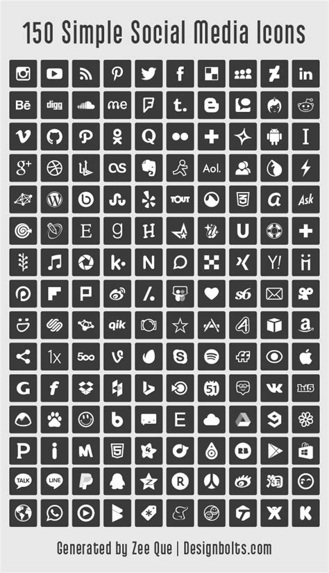 150 Free Simple Vector Social Media Icons Set 2015