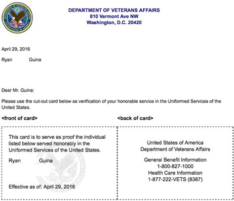 Benefit Verification Letter Va New Federal Veterans Id Card Now Available For Issue In 2017