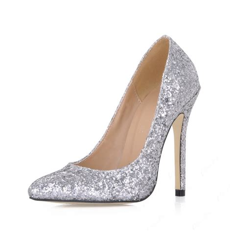 Silver Pumps For Wedding by Shining Silver Stiletto Heels Closed Toes Wedding
