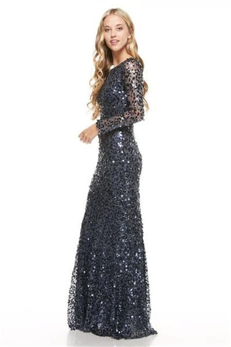 Prom Navy, Rose Gold Long Sequin Bridesmaid Dress Evening