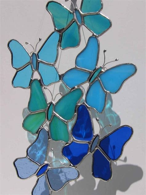 blue stained glass l freeform blue butterflies stained glass suncatcher glas