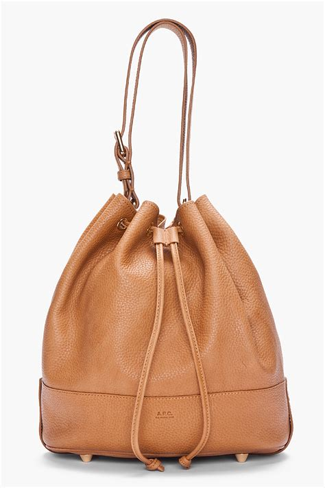 P Da Bag lyst a p c brown pebbled leather bag in brown