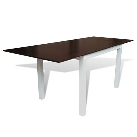 Extending Wood Dining Table Vidaxl Co Uk Solid Wood Brown White Extending Dining Table 195 Cm
