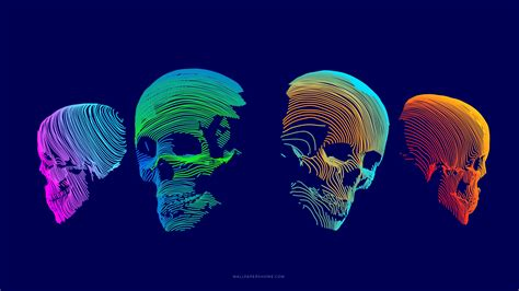 wallpaper abstract  colorful skull  abstract
