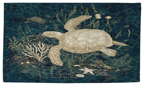 turtle area rug thumbprintz sea turtle vignette rug 2 x 3 contemporary outdoor rugs by overstock