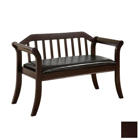 indoor bench shop furniture of america derby espresso indoor entryway bench at lowes com