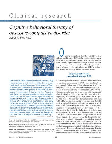 Pdf Cognitive Behavioral Therapy Of Obsessive Compulsive