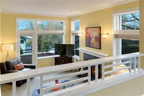 Sunken Living Room Railing by Park Staged Townhouse Traditional Living Room