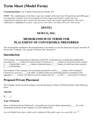non binding term sheet template non binding term sheet forms and templates fillable
