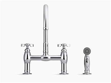 kohler parq two hole deck mount kitchen sink faucet with 9 parq deck mount bridge kitchen sink faucet with sidespray