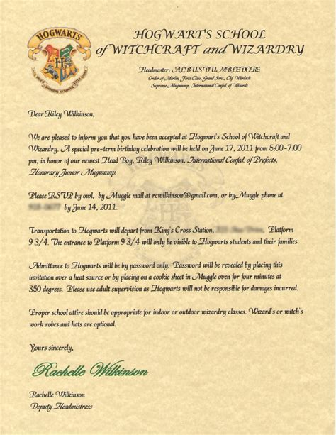 Invitation Letter Harry Potter Wilkinsonquints S Harry Potter Birthday