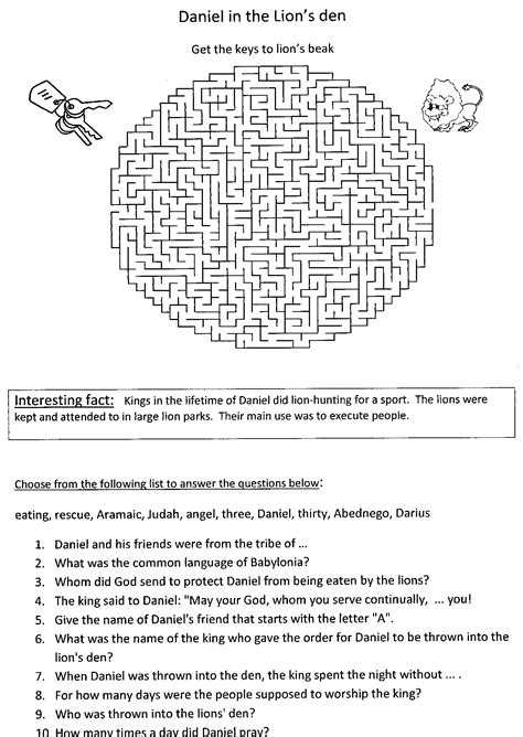 Bible Worksheets For Youth by Bible Activity Sheets The Lions Den Sunday School