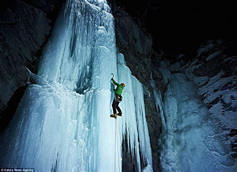 climbing frozen waterfall wasn 191 difficult 191 daredevil scales 500ft ice
