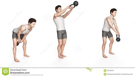 kettlebell side swing side step swing stock illustration image 45576976