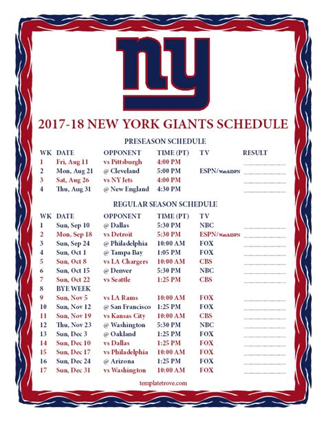 printable giants schedule printable 2017 2018 new york giants schedule
