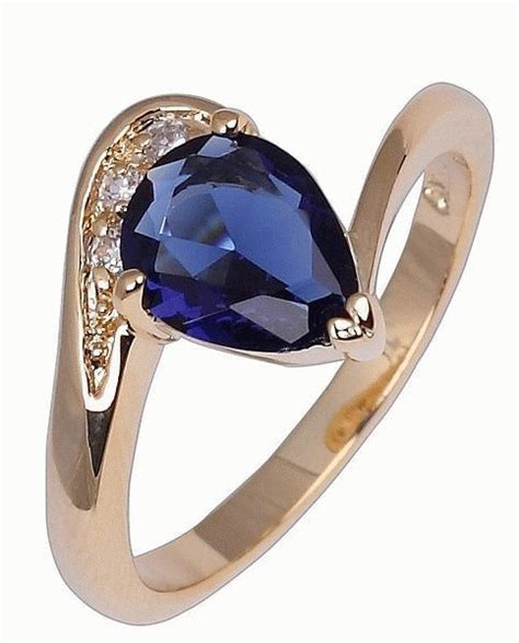 jual cincin wanita ring 8 model sapphire bahan real gold filled multi pro semesta