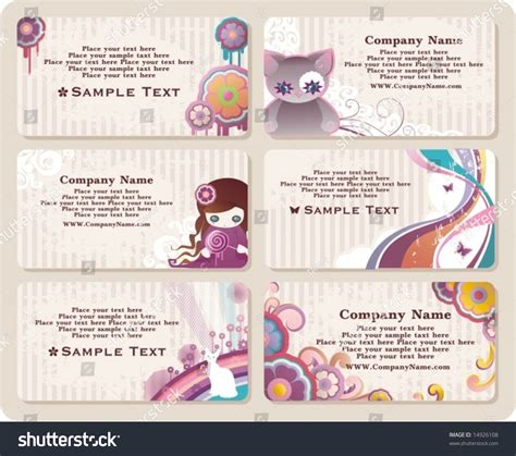 horizontal cards templates collection childish horizontal business cards templates