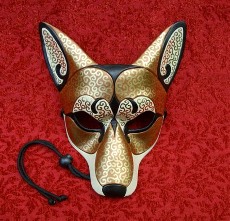 Handmade Animal Masks - bronze venetian coyote mask handmade leather mask