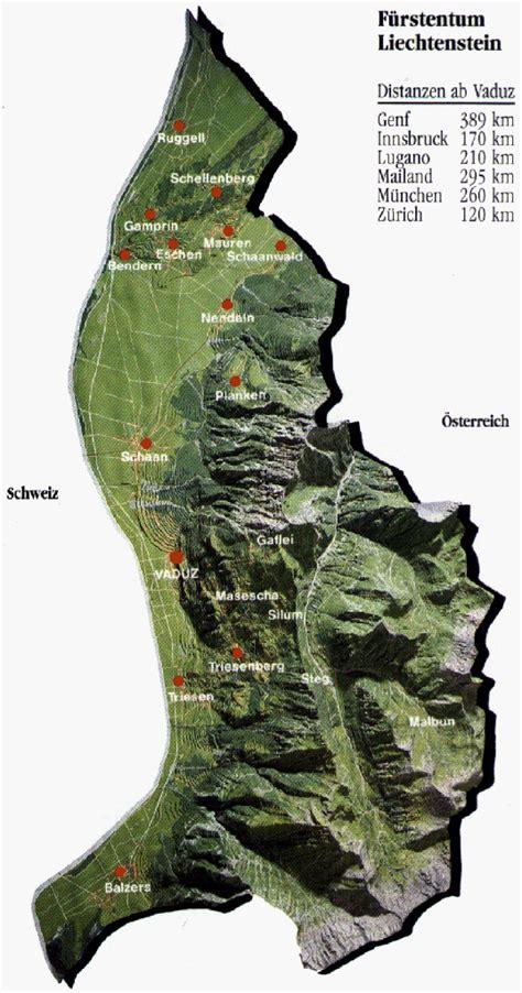 where is liechtenstein on a map relief map of liechtenstein liechtenstein relief map