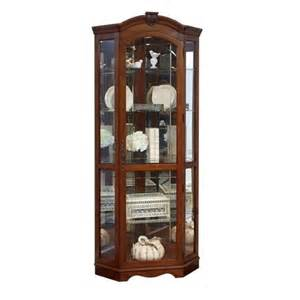 Corner Curio Cabinet For Kitchen Pulaski Curios Corner Cabinet In Medallion Cherry 20671