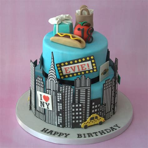 themed birthday cakes new york themed 2 tier birthday cake