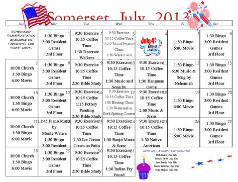 activity calendar template for seniors july activity calendar new calendar template site