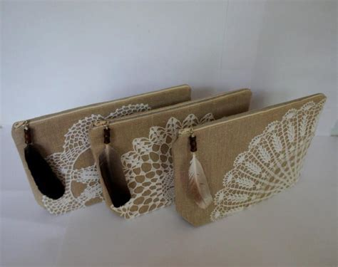 Pouch Handmade - bridesmaid bag sand beige linen and vintage cotton doily