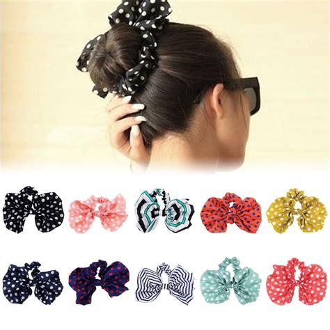 Rabbit Ear Shape Hair Tie rabbit ear bow headband ponytail holder hair tie band korean style 10 color ebay