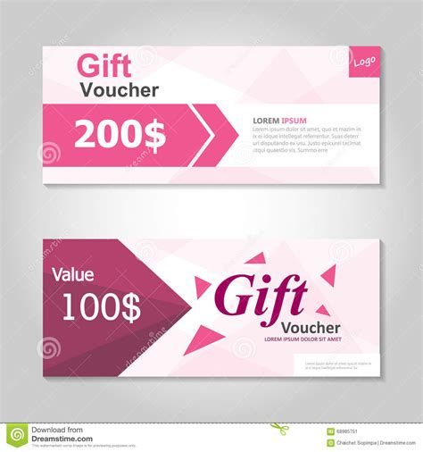 template for coupons the size of gift cards pink gift voucher template layout design set