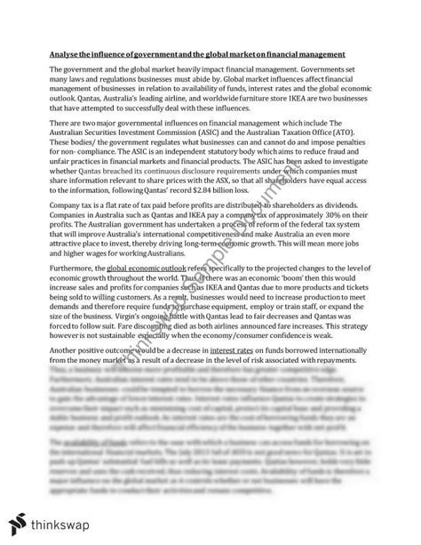 Government Essay by 20 20 Business Studies Finance Essay Analyse The Influence Of Government And The Global Market