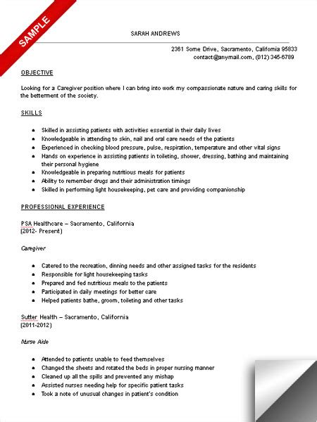 Caregiver Experience Resume by Caregiver Resume Skills By Writing Resume Sle Writing Resume Sle