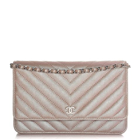 Chan3l Cevron Woc Caviar Gold chanel metallic caviar chevron quilted wallet on chain woc