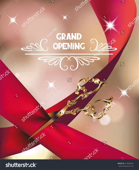 grand opening card template grand opening invitation card silk stock vector