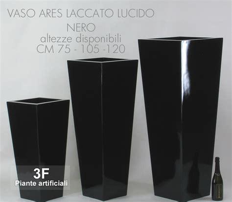 vasi neri vaso ares laccato lucido nero cm 34 x 34 h 75 3f