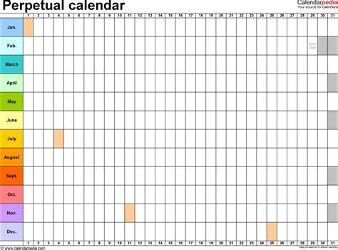 Perpetual Calendar Template Word