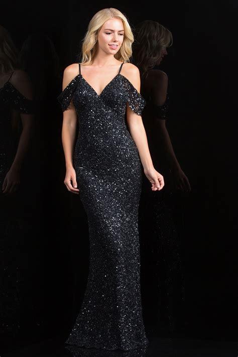 scala  fitted cold shoulder black sequin dress rissyrooscom