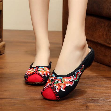 Etnic Slip On yrzb ethnic fireworks embroidery slip on flats shoes
