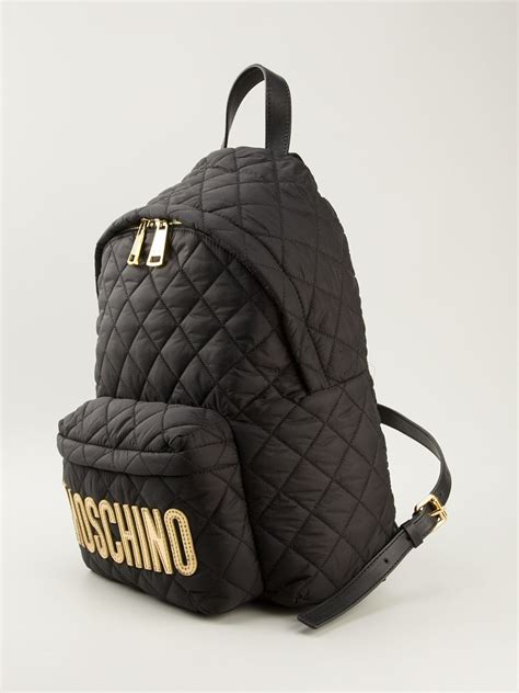Quilted Back Pack by Moschino Quilted Logo Backpack In Black Lyst