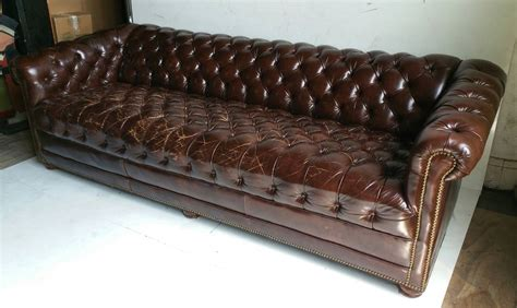 brown leather button tufted chesterfield sofa classic for