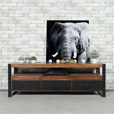 meuble tv industriel 3 tiroirs bois fonc 233 made in meubles
