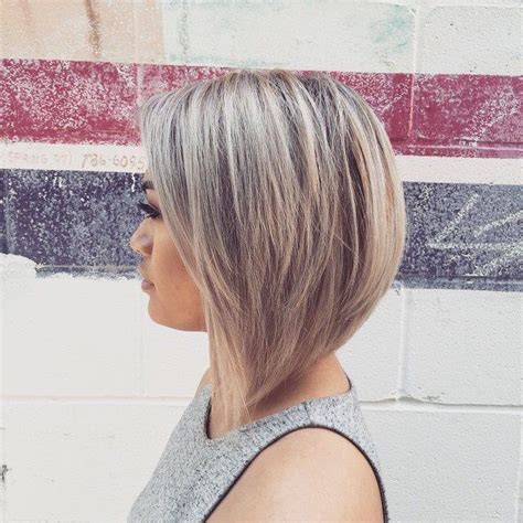dramatic layered angled bob haircuts grey blonde inverted dramatic bob beauty pinterest