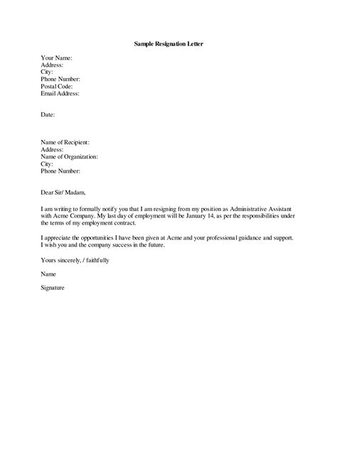brilliant ideas of formal written letter of resignation for your
