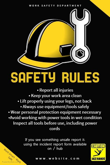 Black Work Safety Rules Poster Template Postermywall Safety Templates Free
