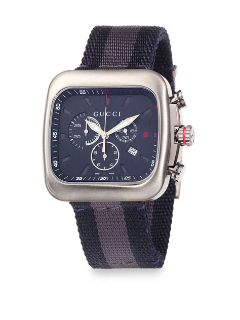 Gucci Chrono Detik Leather Grey gucci coup 233 chronograph in blue for grey navy lyst