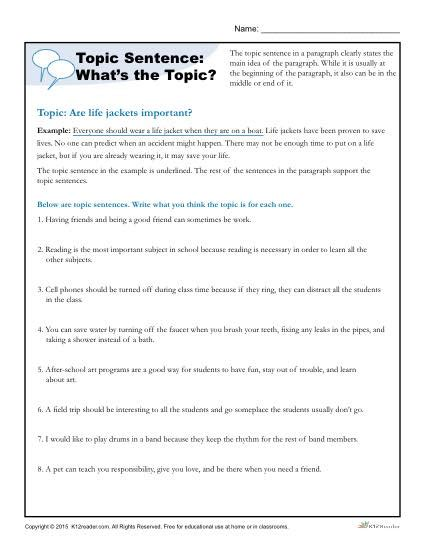 Topic For Essay For Grade 6 by Topic Sentence What S The Topic Writing Worksheet