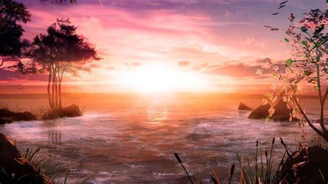full hd wallpaper sea tree sunrise cloud foam spain